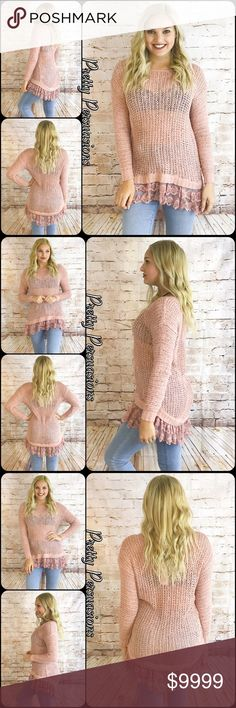 NWT Blush Pink Lace Trim Knit Spring Sweater Full description to come. LAST ONE IN STOCK!! Labeled size medium. Will fit S/M. Model is 5'7 and an average size small/4 Pretty Persuasions Sweaters