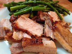 Grilled pork belly with asparagus