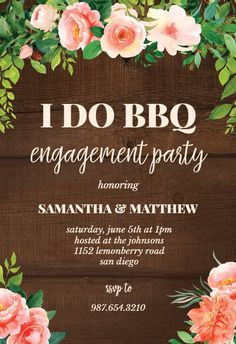 I Do BBQ - Engagement Party Invitation #invitations #printable #diy #template #Engagement #party #wedding