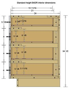 I'm trying to determine the usable drawer depth and width for 3 or 4 drawer base cabinets. Kitchen Cabinets Measurements, Kitchen Cabinet Dimensions, Kitchen Cabinet Sizes, Building Kitchen Cabinets, Kitchen Base Cabinets, Kitchen Drawers, Built In Cabinets, Cabinet Drawers, Diy Cabinets