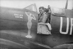 An evil grin and cheeky nose art. One of the more saucy examples of WWII RAAF art. FLTLT David Hopton in his Spitfire, Australian Air, Royal Australian Navy, Cienfuegos, Ww2 Aircraft, Military Aircraft, The Spitfires, Aircraft Painting, Fear Of Flying, Supermarine Spitfire