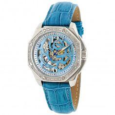 Stuhrling Original 231.1215I21 Madame Nemo Blue  Automatic Skeleton Watch For Women