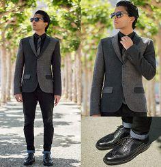 Lookbook user Josh W.   Topman Patchwork Blazer, Alden Shoes   #WorkItWednesday #Alden Shoes are available on www.TheShoeMart.com