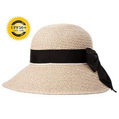 69320edef904c Siggi Womens Floppy Summer Sun Beach Straw Hats Accessories Wide Brim SPF  50 Crushable 56-58cm Beige