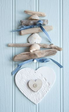 Coastal driftwood hanging heart garland by driftwooddreaming