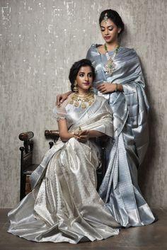 Eye catching Grey saree with Bridal Jewelry<br> Bridal Silk Saree, Satin Saree, Saree Wedding, Wedding Lehanga, Silk Saree Kanchipuram, Silk Sarees, Banaras Sarees, Grey Saree, White Saree