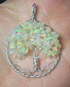 Opal Tree of Life pendant Ethiopian Opal  Welo Opal by mandalarain, $100.00