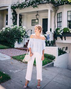 The most perfect white summer trousers up on galmeetsglam.com today (link in profile) #summerstyle #offtheshoulder #sanfrancisco