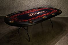 Aces Pro Tournament Poker Table  2 from BBO has a very sturdy folding leg and custom graphics.