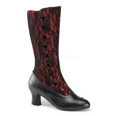 "On Sale! This boot would make a great accessory to a Victorian themed Halloween costume! 2"" Heel,Bootn Up Calf Boot W/Inner Side Zip,Lace Overlay"