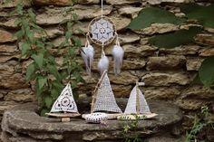 Crochet set/Crochet Dreamcatcher/Crochet stone/Driftwood crochet sailboats