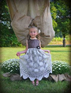 Flower Girl Dress for Vintage Wedding  Re-purposed an antique table cloth!
