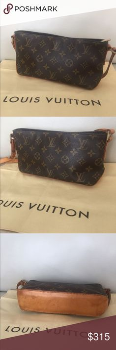 """💯Authentic Louis Vuitton Trotteur cross body bag Vintage LV cross body. Leather bottom and straps have dirty stains, scratches, cracks, turned into a honey patina and show wear. Monogram canvas is intact. Inside is very clean. Measurements: 9.85W x 5.12H x 2.75D """" - Straps: 19.3-21.67"""" - made in France in November, 2002 - Date code: AR1012 - comes with original dust bag - check pictures for signs of wear. 100% Authentic Louis Vuitton Bags Crossbody Bags"""