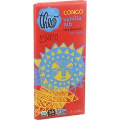 Theo Chocolate Organic Chocolate Bar - Partner - Dark Chocolate - 70 Percent Cacao - Congo Eci Vanilla Nib - 3 Oz Bars - Case Of 12