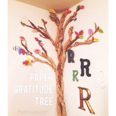 by the r house, via Flickr. My tree fetish once again. Love this idea of using paper and love the bonus idea of making grateful leaves.