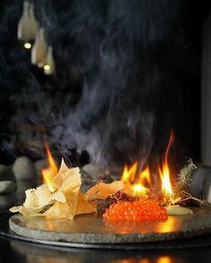 Corey Campbell's salmon pearls smoked over tea-tree at Vue de Monde Australia