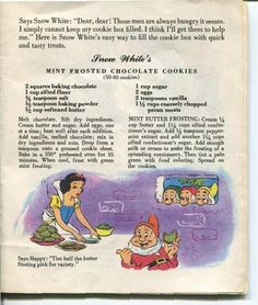 me ~ Vintage 1955 Walt Disney Snow White Dairy Recipe Book American Dairy Association Retro Recipes, Old Recipes, Vintage Recipes, Cookbook Recipes, Cookie Recipes, 1950s Recipes, Disney Food Recipes, Disney Desserts, Cookie Desserts