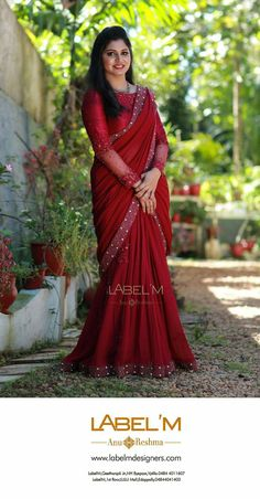 43 Ideas For Bridal Saree Red Chiffon Half Saree Designs, Sari Blouse Designs, Saree Blouse Patterns, Designer Blouse Patterns, Dress Designs, Kerala Engagement Dress, Engagement Saree, Engagement Dresses, Half Saree Lehenga