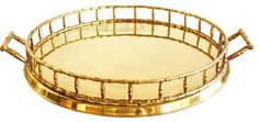 Vintage Round Faux Bamboo Brass Tray contemporary serveware