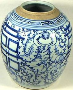 Large, Genuine 19th Century Qing Dynasty Chinese Blue and White Ming Style Porcelain Ginger Jar