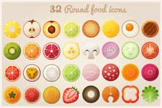 Fruit halves and round food icons by Ann-zabella on Creative Market