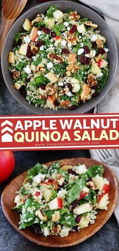 Apple Walnut Quinoa Salad is the definition of healthy eating! Packed with protein and a medley of textures and flavors, this delicious healthy recipe is filling enough to be a meal. Enjoy it for� More Apple Salad Recipes, Vegetarian Salad Recipes, Easy Healthy Recipes, Meatless Recipes, Simple Recipes, Healthy Options, Vegan Recipes, Cold Quinoa Salad, Quinoa Salad Recipes Cold