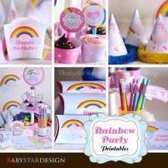 Rainbow Party Printables by babystardesign on Etsy, $10.00