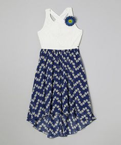 Another great find on #zulily! White & Blue Lace Rosette Dress by Speechless #zulilyfinds