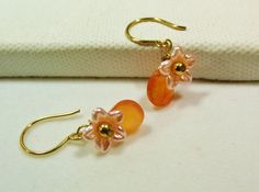 Pink Lucite Flower Earrings Orange Chalcedony by CharmingAccessory