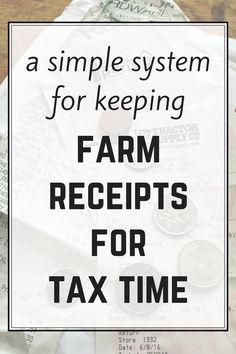 An easy system for keeping farm receipts, and keeping them organized for tax time - includes free printables. Homestead Farm, Homestead Survival, Survival Skills, Homestead Layout, Cattle Farming, Livestock, Pig Farming, Farm Plans, Farm Business