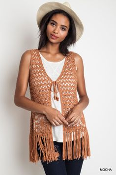 sleeveless crochet fringed vest