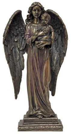 """A beautiful Angel Statue is a great Symbol of guardian to protect us. A Veronese Angel with Cross & Book statue in lightly hand-painted cold cast bronze, 11"""""""