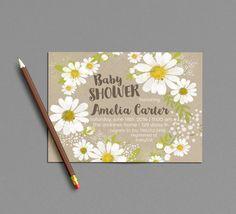 Spring Baby Shower Invitation Printable, Daisy Invite, White & Yellow Daisies Gender Neutral Summer Bridal Shower Invitations, Wildflower