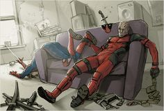 No wonder Deadpool gets confused to Spidey, their suits are freaking similar xD If you don't like Spideypool and stuff just go on with doing what you're doing, don't leave a comment, everyone has a. Marvel Art, Marvel Dc Comics, Marvel Avengers, Deadpool X Spiderman, Superman, Batman, Marvel Funny, Marvel Memes, Fanart