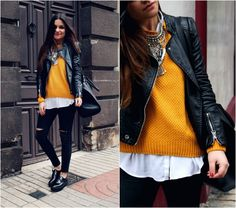 Little black coconut - Jersey mostaza - Chaqueta Shein - Jersey Brenda Shop - Vaquero Romwe - Zapatos Mango - Collar Nephra Looks Style, Looks Cool, Casual Looks, Casual Outfits, Fashion Outfits, Outfits Otoño, Leather Jacket Outfits, Lookbook, Look Chic