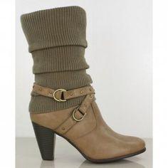 Ladies Mid-calf Strappy High Heel Boots Khaki