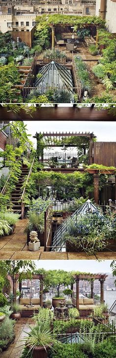 Rooftop space with a garden oasis in the city.