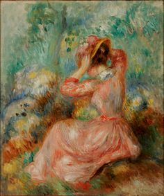 Pierre Auguste Renoir (French, 1841 – 1919) | Woman Arranging Her Hat | ca. 1890 | Oil on canvas | 10 5/8 x 9 inches | Gift of Micheline and Bob Gerson | 2008.165