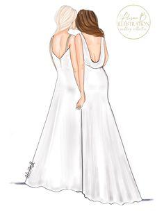#mrsandmrs #gayart #lbgtq #pride #lesbian #wedding #bride #alisonbillustration #art #wall #fashion #sketch #drawing #ideas #gift #ceremony #marriage #irish #cork #small #shoplocal #shopsmall #business Wedding Art, Wedding Bride, Wedding Styles, Sketch Drawing, Drawing Ideas, Fashion Prints, Fashion Art, Asking Bridesmaids, Lesbian Wedding