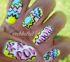 pop art nails Stiletto Shaped Nails, Oval Shaped Nails, Pop Art Nails, Fun Nails, Nail Art, Girly Things, Girly Stuff, Pedi, Summer Nails