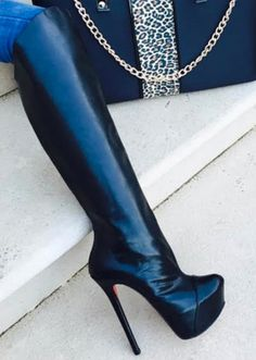 Knee High Heels, Black High Heels, Thigh High Boots, High Heel Boots, Over The Knee Boots, Heeled Boots, Beige Boots, High Leather Boots, Black Boots