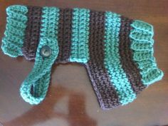 Striped Crochet Small Dog or Puppy Sweater by CrochetFabulous