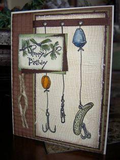 masculine, fishing birthday card; stamped handmade card