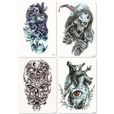"""Vkenis 20PCS Full Arm Temporary Tattoos Waterproof Tattoo Stickers 17.73""""*5.91""""/45CM*15CM Large Size with Random Gifts (A+B+C+D+E #)"""