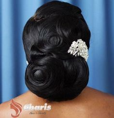 Black Wedding Updo For Long Thick Hair