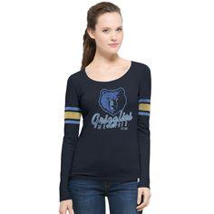 7cc8e1491 Women s Memphis Grizzlies  47 Navy Hardwood Classics Three Point Long  Sleeve T-Shirt