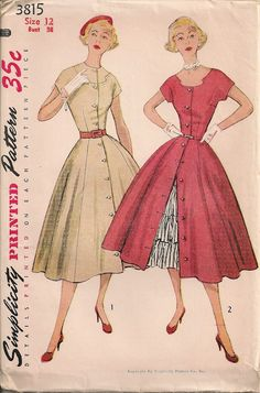 UNCUT Vintage 1950's Dress and Petticoat Pattern by SewPatterns