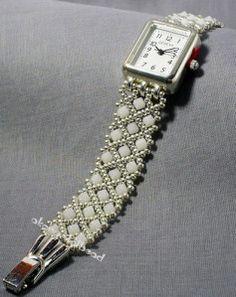 Weiß und Silber Swarovski Kristall Band watch2