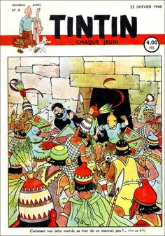 Journal Tintin version Belge - 22 janvier 1948 Comment nos amis vont-ils se tirer de ce mauvais pas ?