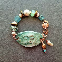 Ceramic and Earthy Bracelet Moon and Copper by livewirejewelrysb